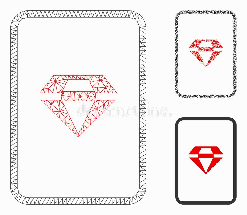 Ícone do mosaico do modelo e do triângulo da carcaça de Ruby Gambling Card Vetora Mesh ilustração stock