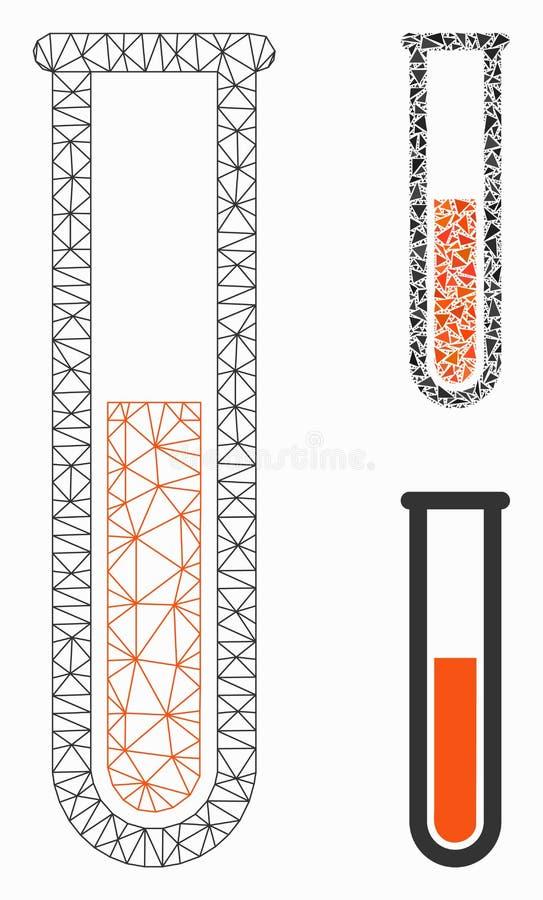 Ícone do mosaico do modelo e do triângulo da malha líquida vermelha do vetor do tubo de ensaio 2D ilustração royalty free