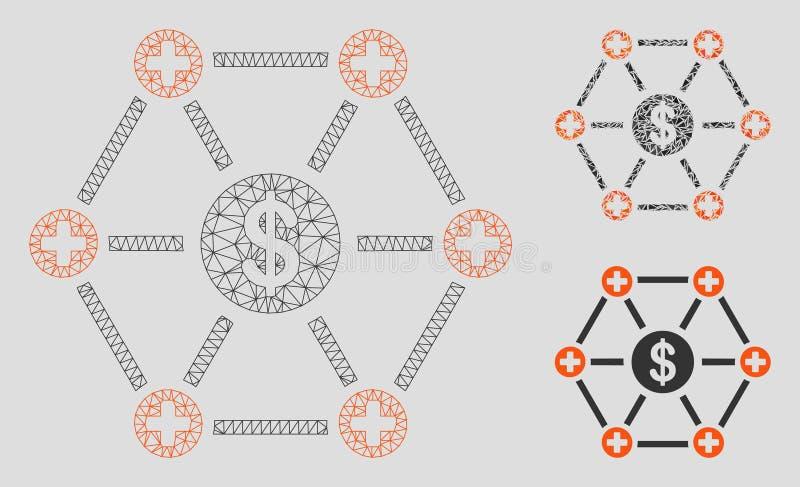 Ícone do mosaico do modelo e do triângulo da malha médica financeira do vetor da rede 2D ilustração stock