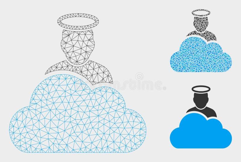 Ícone do mosaico do modelo e do triângulo da malha do vetor do deus da nuvem 2D ilustração royalty free