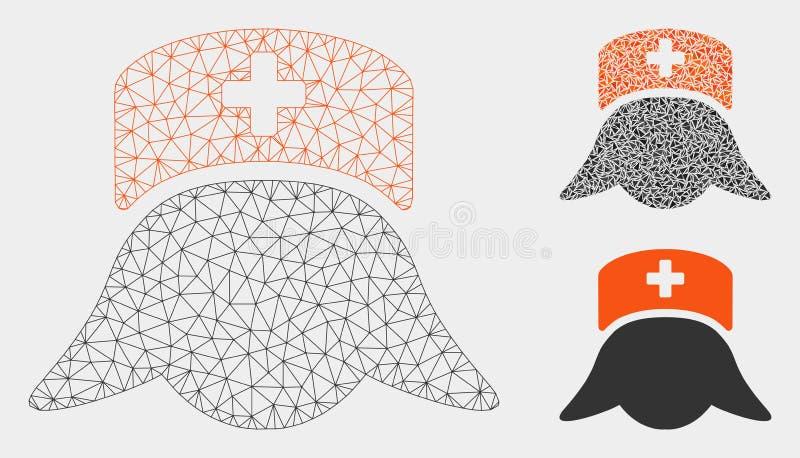Ícone do mosaico do modelo e do triângulo de Head Vetora Mesh da enfermeira do hospital 2D ilustração do vetor