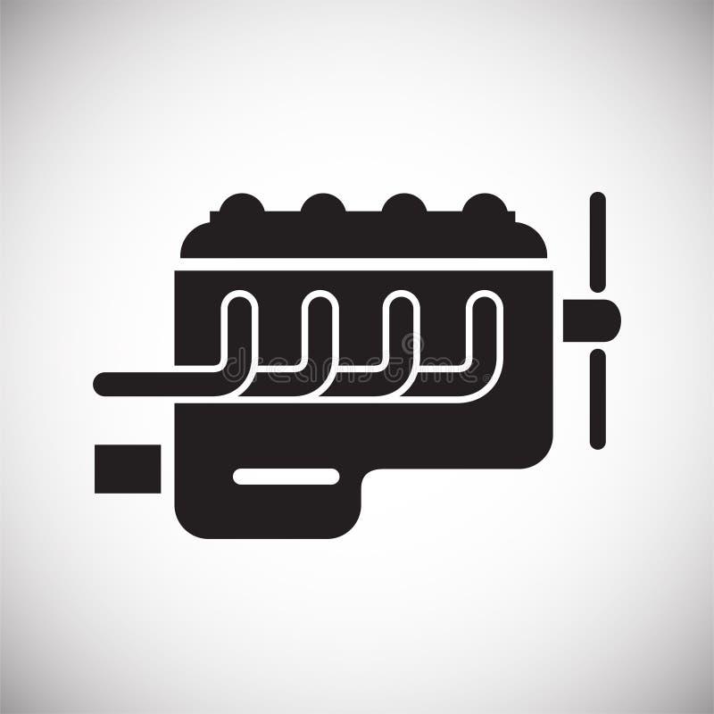 Ícone do motor de automóveis no fundo branco para o gráfico e o design web, sinal simples moderno do vetor Conceito do Internet S ilustração royalty free