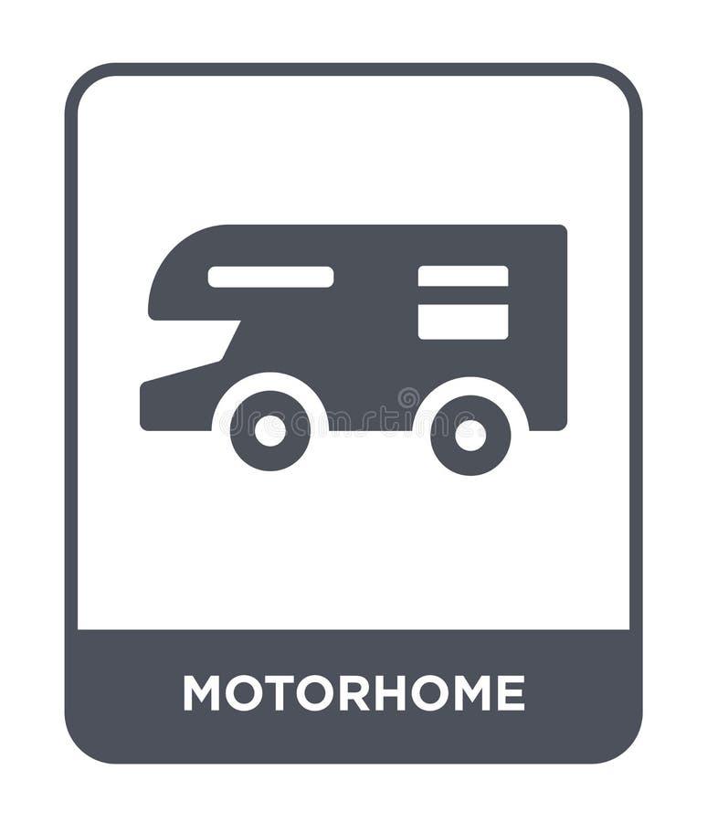 ícone do motorhome no estilo na moda do projeto ícone do motorhome isolado no fundo branco plano simples e moderno do ícone do ve ilustração stock