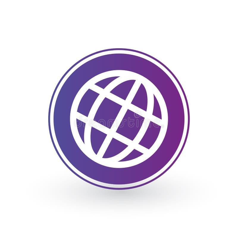 Ícone do mundo do globo no círculo roxo Projeto de Minimalistic Ilustração do vetor isolada no fundo branco ilustração do vetor