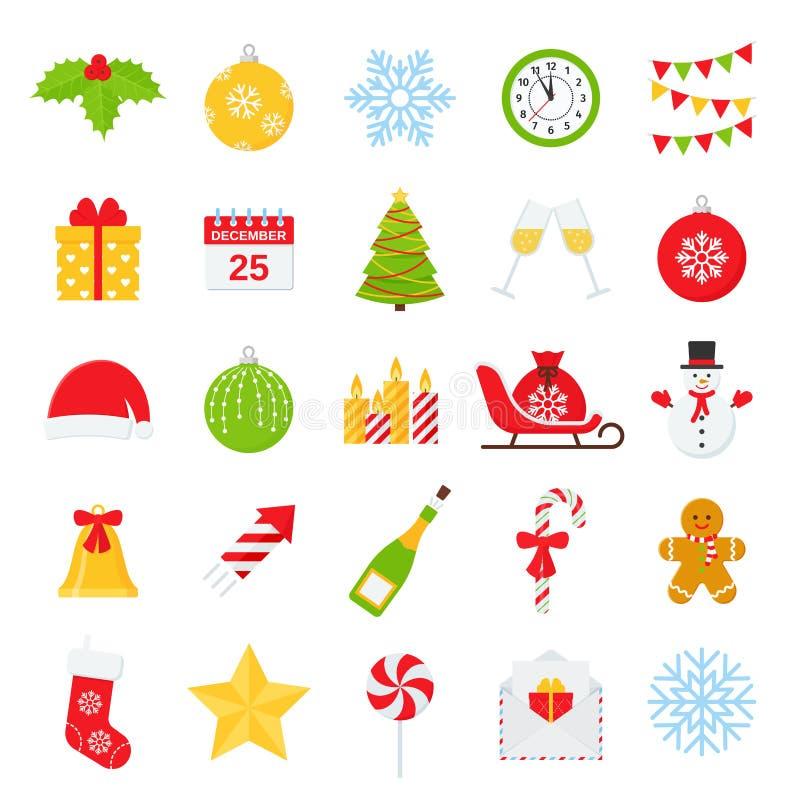 Ícone do Natal, grupo do inverno Ilustra??o do vetor no projeto liso ilustração stock