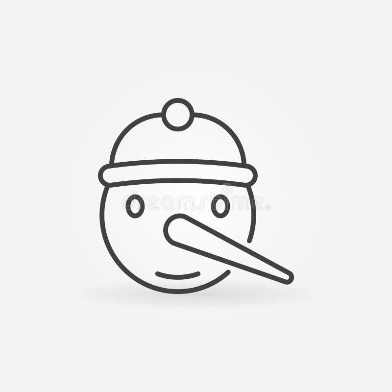 Ícone do Natal do vetor da cara do boneco de neve na linha estilo fina ilustração royalty free