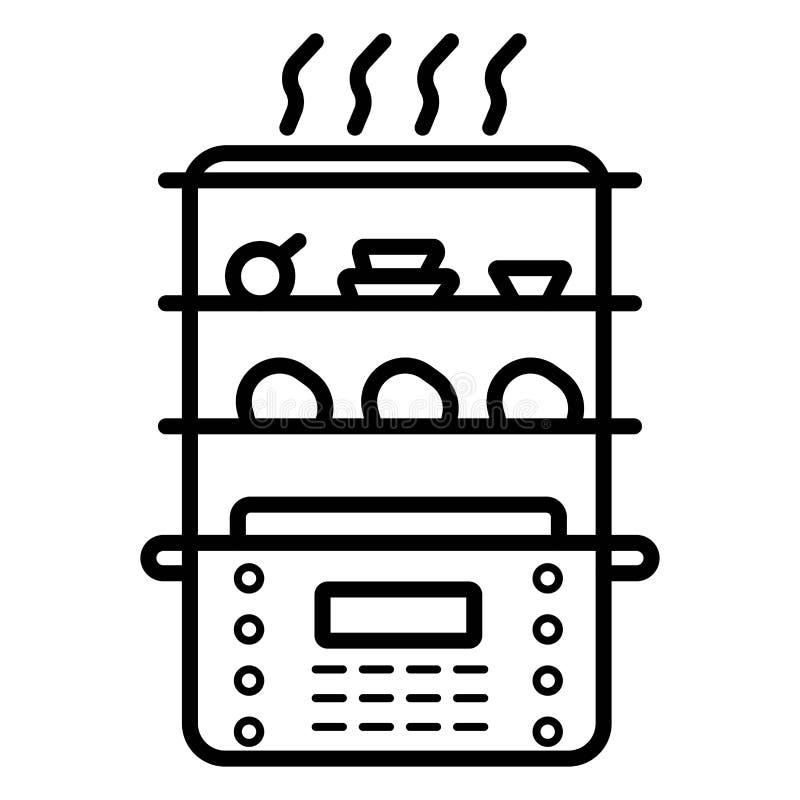 Ícone do navio do alimento, cozinha e dispositivo lisos, gráficos de vetor, um teste padrão contínuo colorido em um fundo branco, ilustração stock