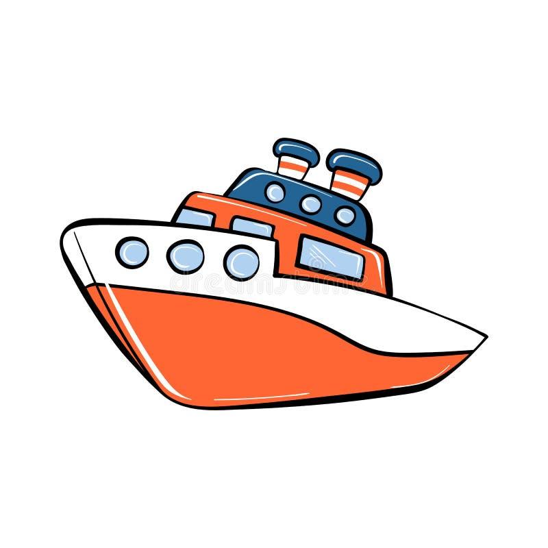 Ícone do navio do brinquedo, estilo dos desenhos animados ilustração do vetor
