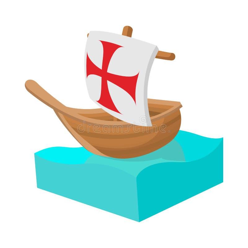 Ícone do navio de Columbo no estilo dos desenhos animados ilustração royalty free