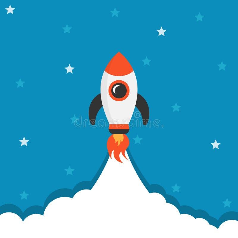 Ícone do navio de espaço do foguete dos desenhos animados no estilo liso Vetor da nave espacial mim ilustração stock