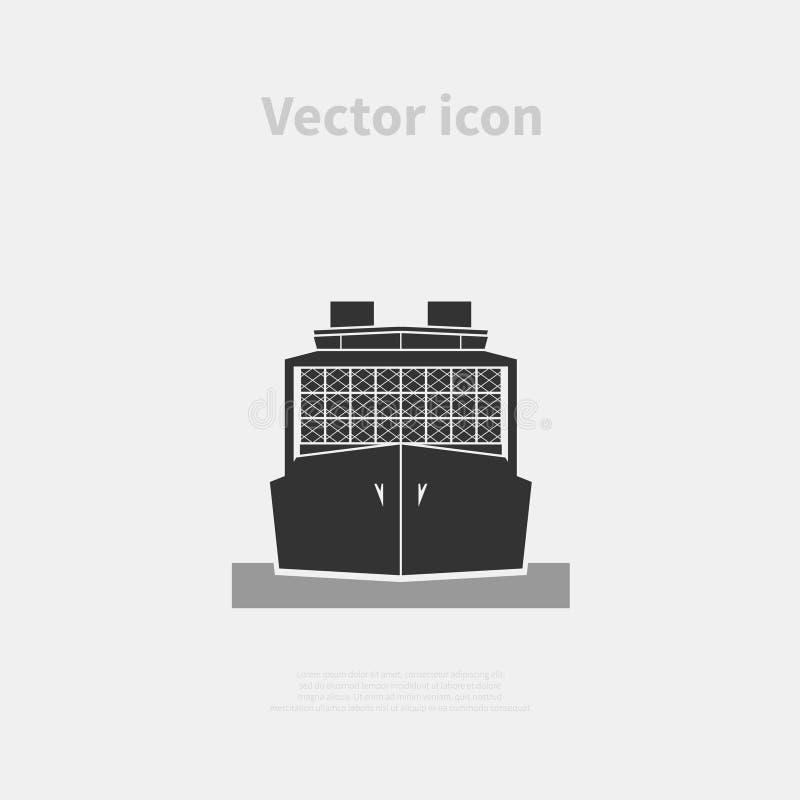 Ícone do navio de recipiente ilustração stock