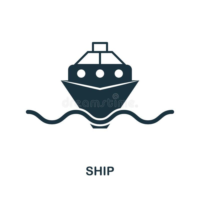 Ícone do navio no vetor Projeto liso do ícone do estilo Ilustração do vetor do ícone do navio pictograma isolado no branco ilustração stock