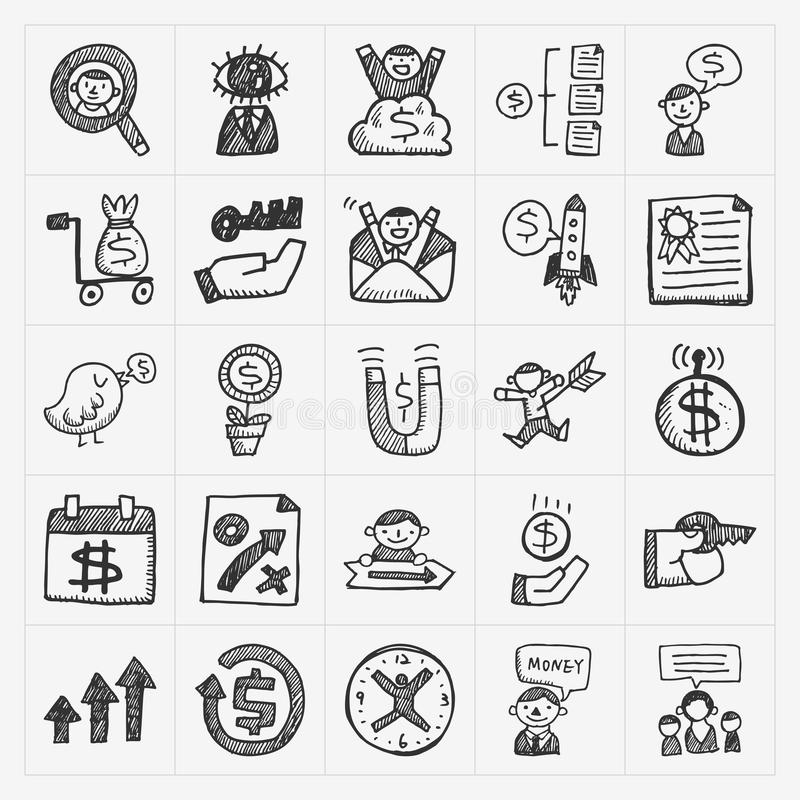 Ícone do negócio da garatuja ilustração stock