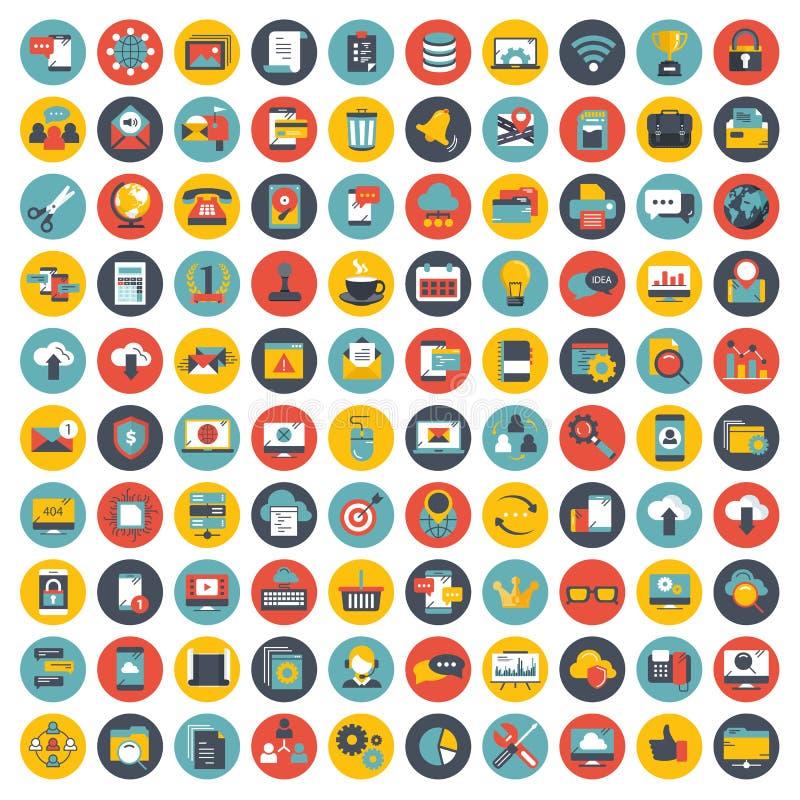 Ícone do negócio, da gestão e da tecnologia ajustado para Web site e aplicações móveis Vetor liso ilustração stock