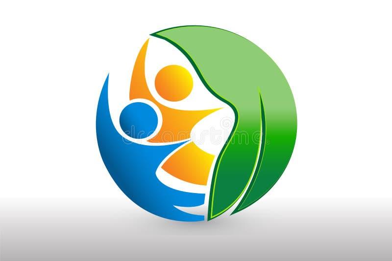 Ícone do negócio da identificação da equipe dos povos da folha da natureza da saúde do logotipo ilustração do vetor