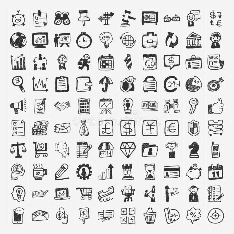 ícone do negócio de 100 garatujas ilustração royalty free