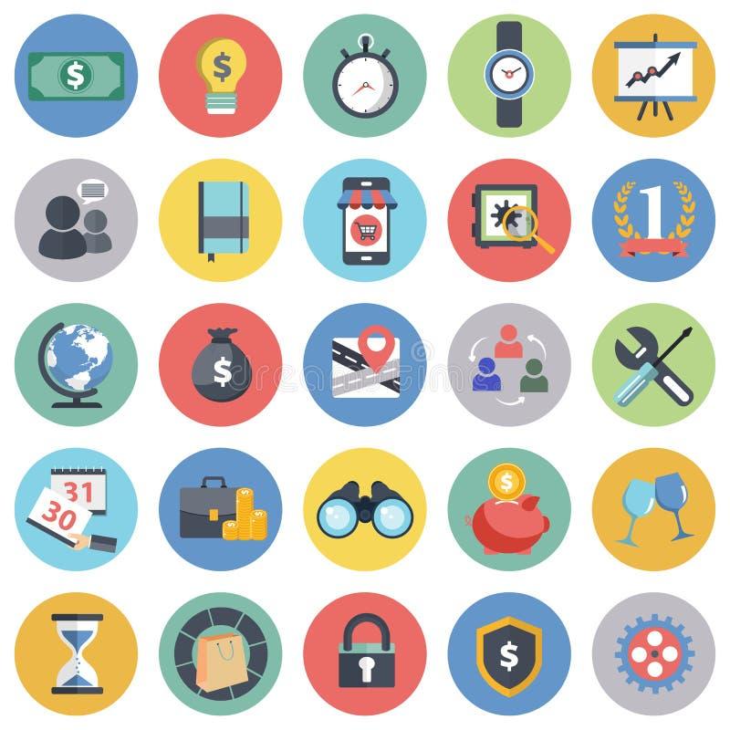 Ícone do negócio e da gestão ajustado para Web site e aplicações móveis Vetor liso ilustração stock