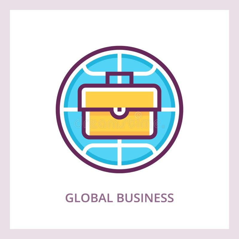 Ícone do negócio global Conceito das finanças internacionais e dos investimentos Pictograma linear do vetor ilustração do vetor