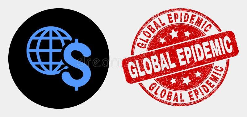 Ícone do negócio global do vetor e selo epidêmico global da aflição ilustração stock