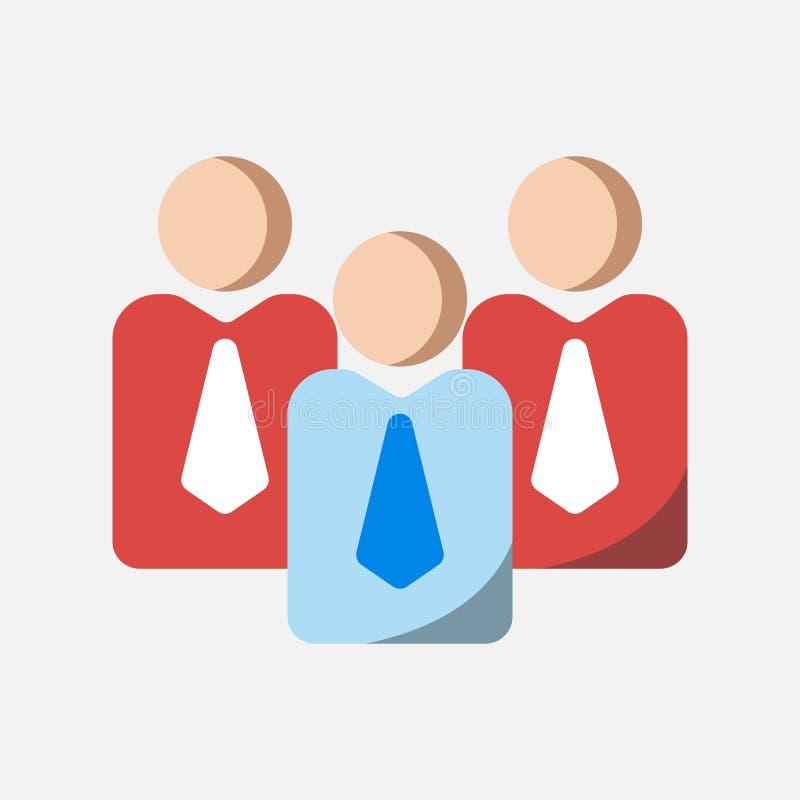 Ícone do negócio, trabalhos de equipe e ícone da liderança no projeto liso ilustração stock