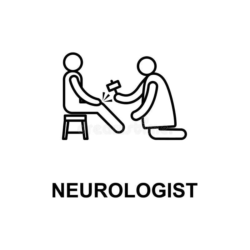 ícone do neurologista Elemento do tratamento com nome para apps móveis do conceito e da Web A linha fina ícone do neurologista po ilustração stock