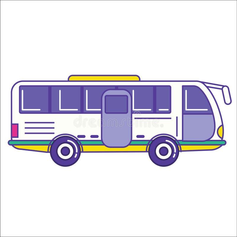 Ícone do ônibus da cidade na linha lisa estilo dos desenhos animados na moda Transporte público VE ilustração do vetor