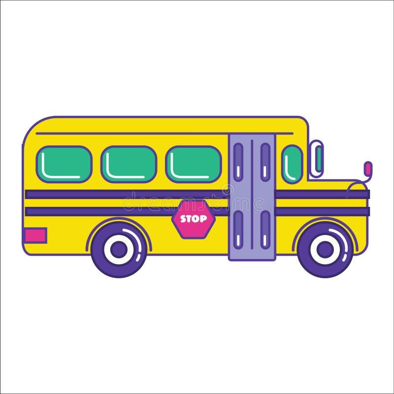 Ícone do ônibus escolar na linha lisa estilo dos desenhos animados na moda Transporte público ilustração stock