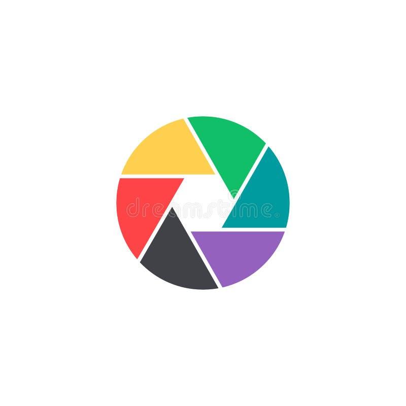 Ícone do obturador do vetor O símbolo colorido da câmera isolou-se Botão da relação Elemento para o app ou o Web site móvel do pr ilustração royalty free
