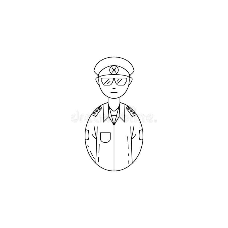 ícone do oficial do exército do avatar Profissões para apps móveis do conceito e da Web Linha fina ícone para o projeto do Web si ilustração stock