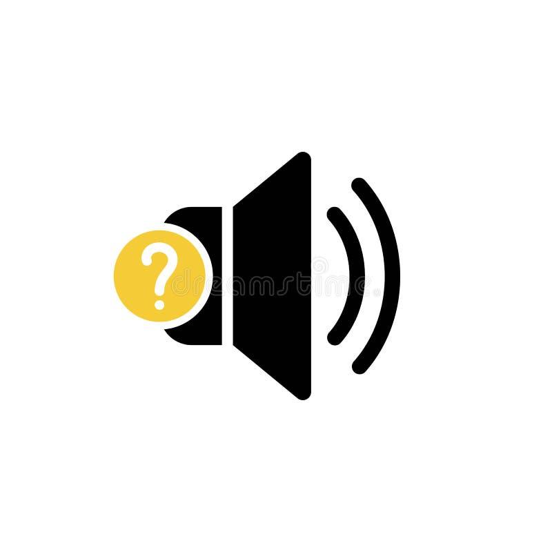 Ícone do orador com ponto de interrogação Ícone e ajuda do orador, como a, informação, símbolo da pergunta ilustração do vetor