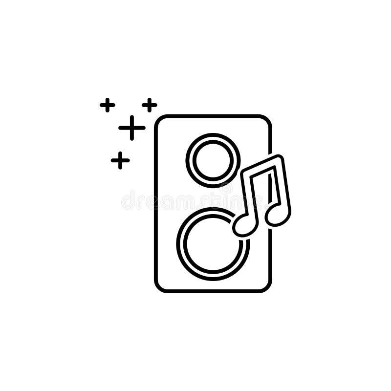 Ícone do orador da música Elemento do ícone oarty do esboço do ano novo Linha fina ícone para o projeto do Web site e o desenvolv ilustração do vetor