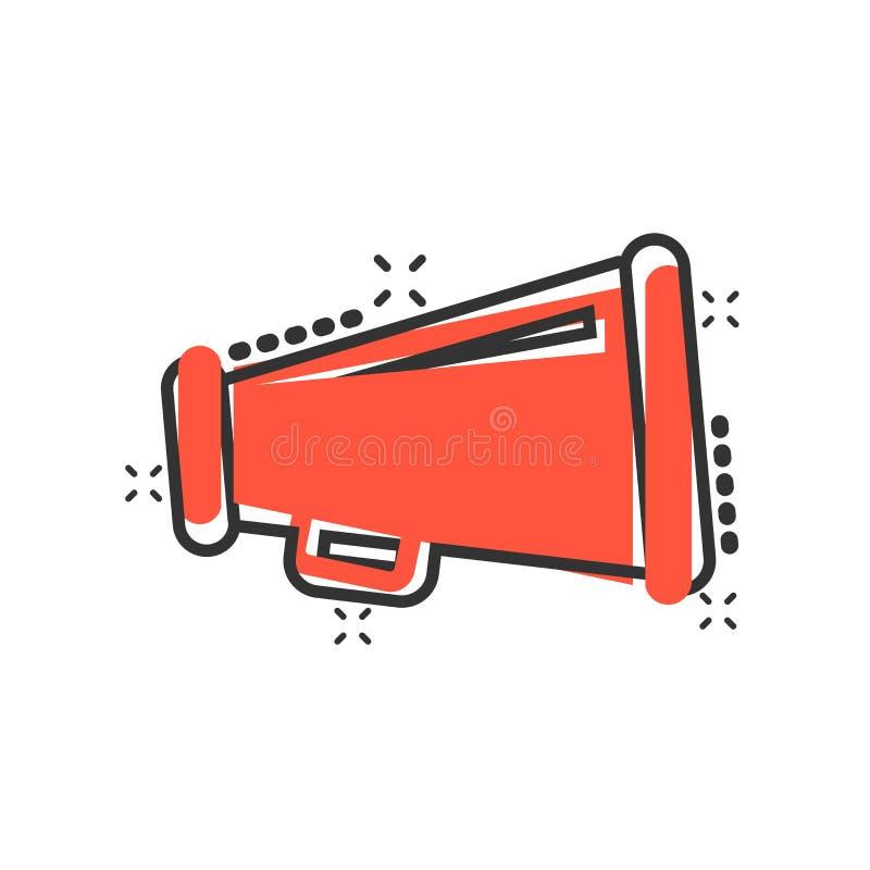 Ícone do orador do megafone no estilo cômico Pictograma audio da ilustração dos desenhos animados do vetor do anúncio do megafone ilustração do vetor