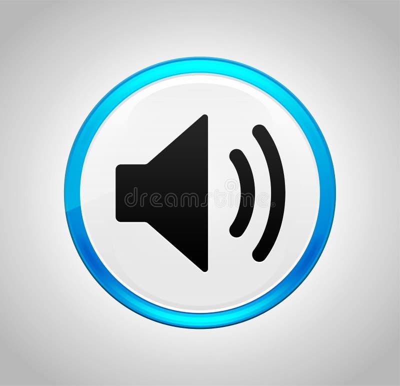 Ícone do orador do volume em volta da tecla azul ilustração stock