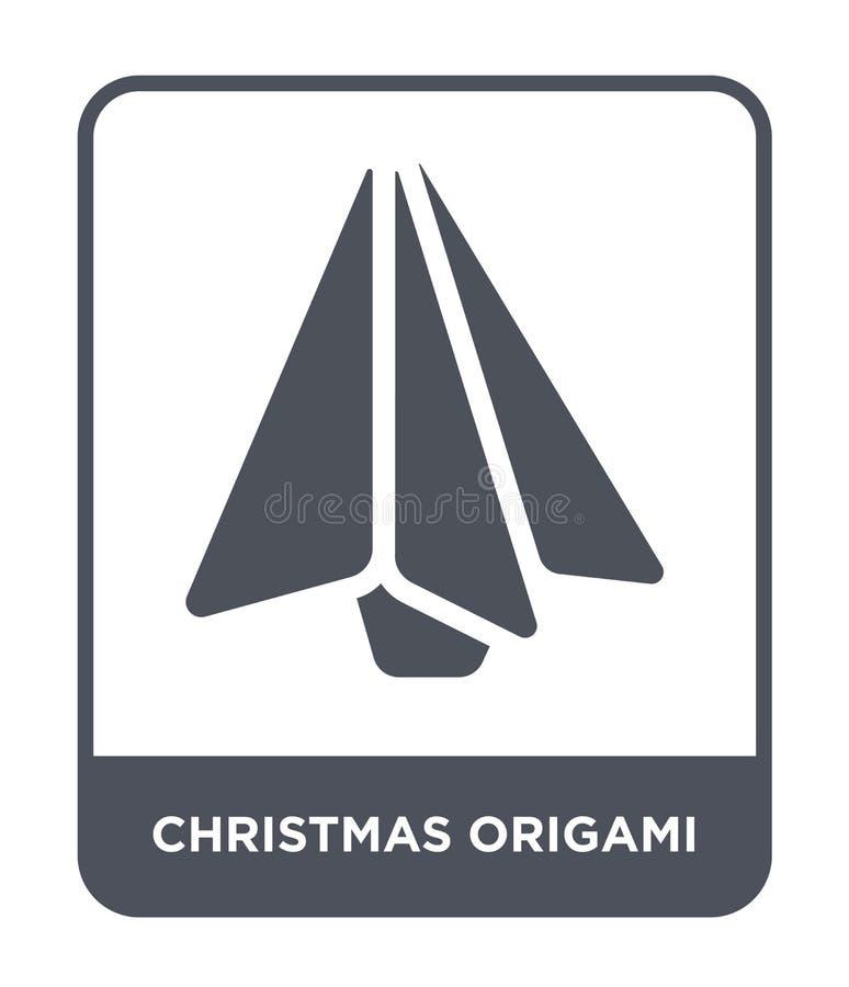 ícone do origâmi do Natal no estilo na moda do projeto ícone do origâmi do Natal isolado no fundo branco ícone do vetor do origâm ilustração royalty free