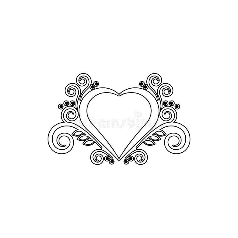 Ícone do ornamento do coração Elemento dos ornamento para o conceito e o ícone móveis dos apps da Web Linha fina ícone para o pro ilustração royalty free