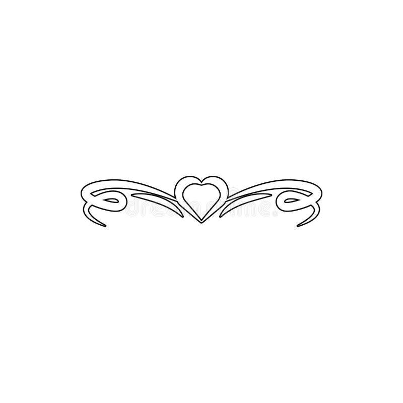 Ícone do ornamento do coração Elemento dos ornamento para o conceito e o ícone móveis dos apps da Web Linha fina ícone para o pro ilustração stock