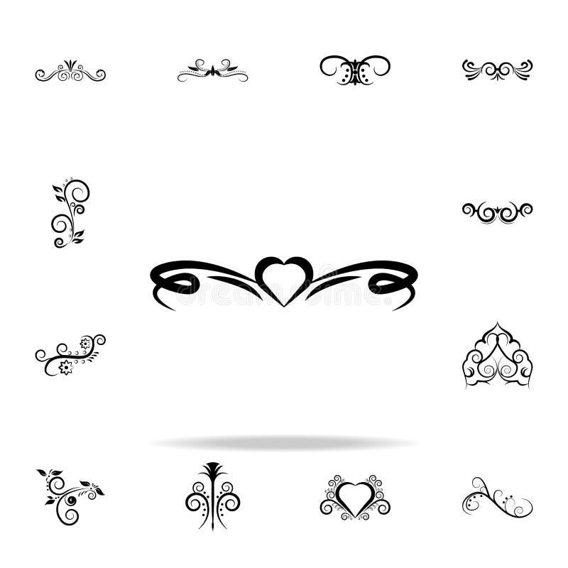 Ícone do ornamento do coração Grupo universal dos ícones dos ornamento para a Web e o móbil ilustração stock