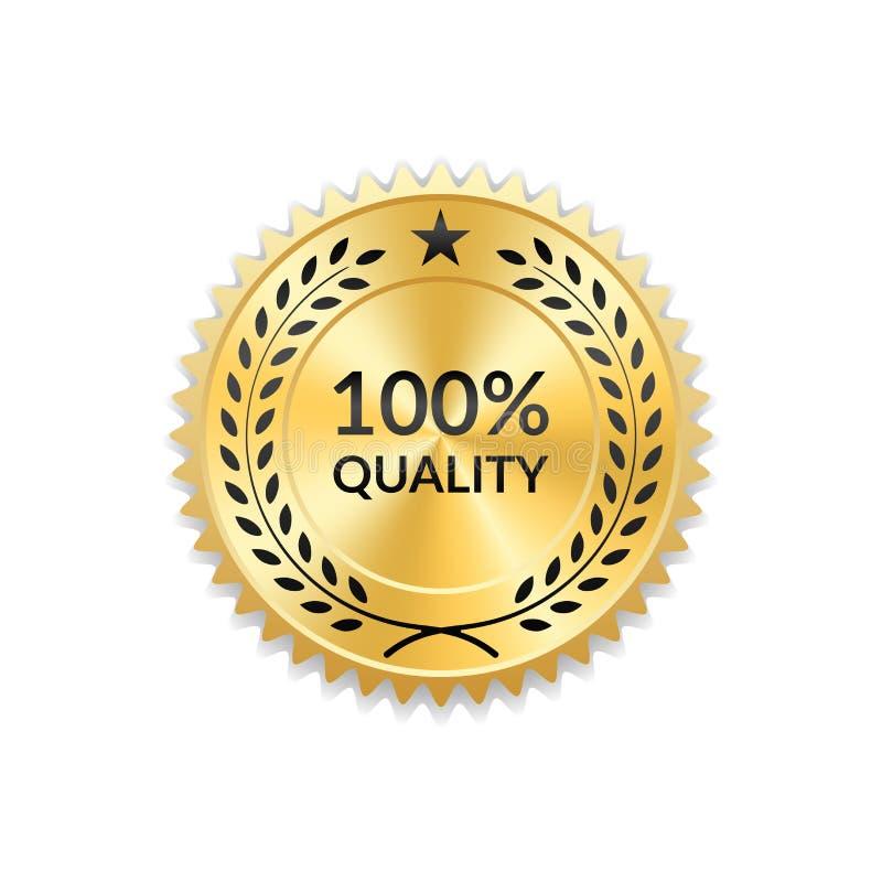 Ícone do ouro da concessão do selo Medalha vazia fundo branco isolado Emblema dourado do projeto Grinalda do louro, estrelas Símb ilustração do vetor