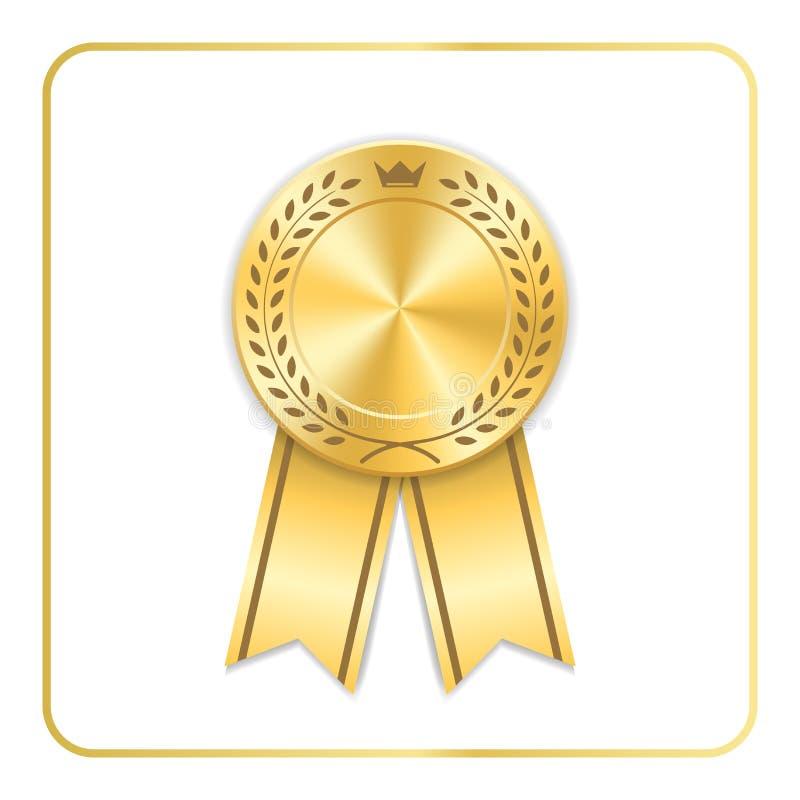 Ícone do ouro da fita da concessão A medalha vazia com grinalda do louro isolou o fundo branco Troféu do projeto da roseta do sel ilustração royalty free