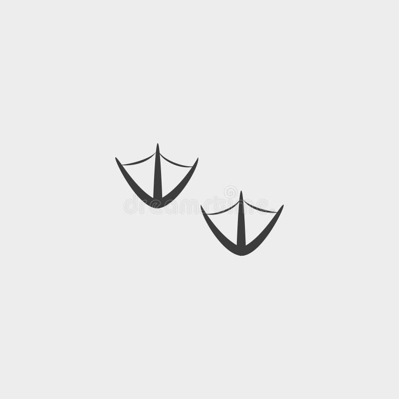 Ícone do pássaro das pegadas em um projeto liso na cor preta Ilustração EPS10 do vetor ilustração do vetor