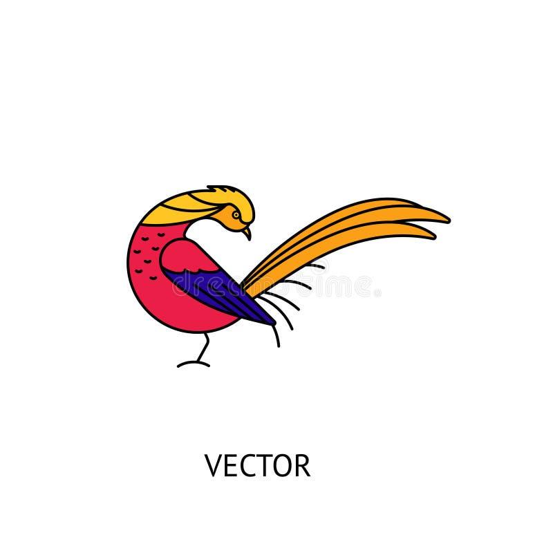 Ícone do pássaro do faisão dourado ilustração do vetor