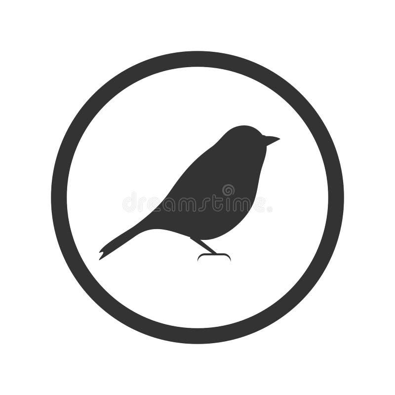 Ícone do pássaro, preto isolado no fundo branco, ilustração ilustração royalty free
