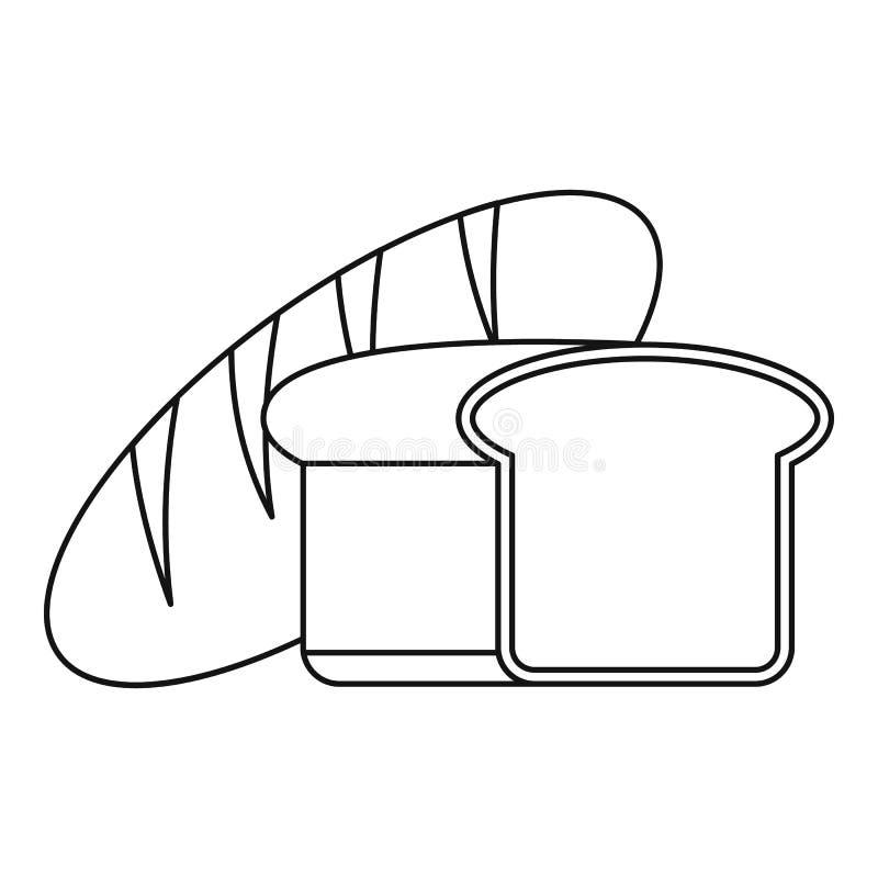 Ícone do pão fresco, estilo do esboço ilustração do vetor