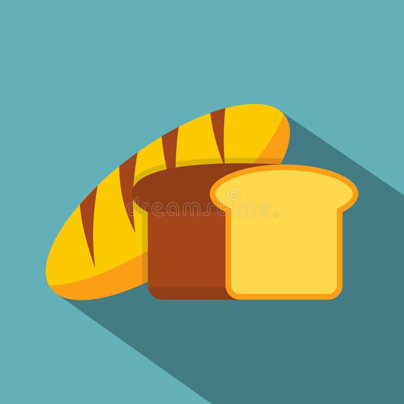 Ícone do pão fresco, estilo liso ilustração do vetor