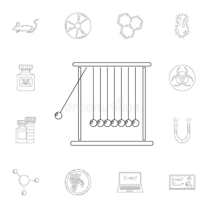 Ícone do pêndulo de Newton Grupo detalhado de ilustrações da ciência e do laboratório Ícone superior do projeto gráfico da qualid ilustração stock