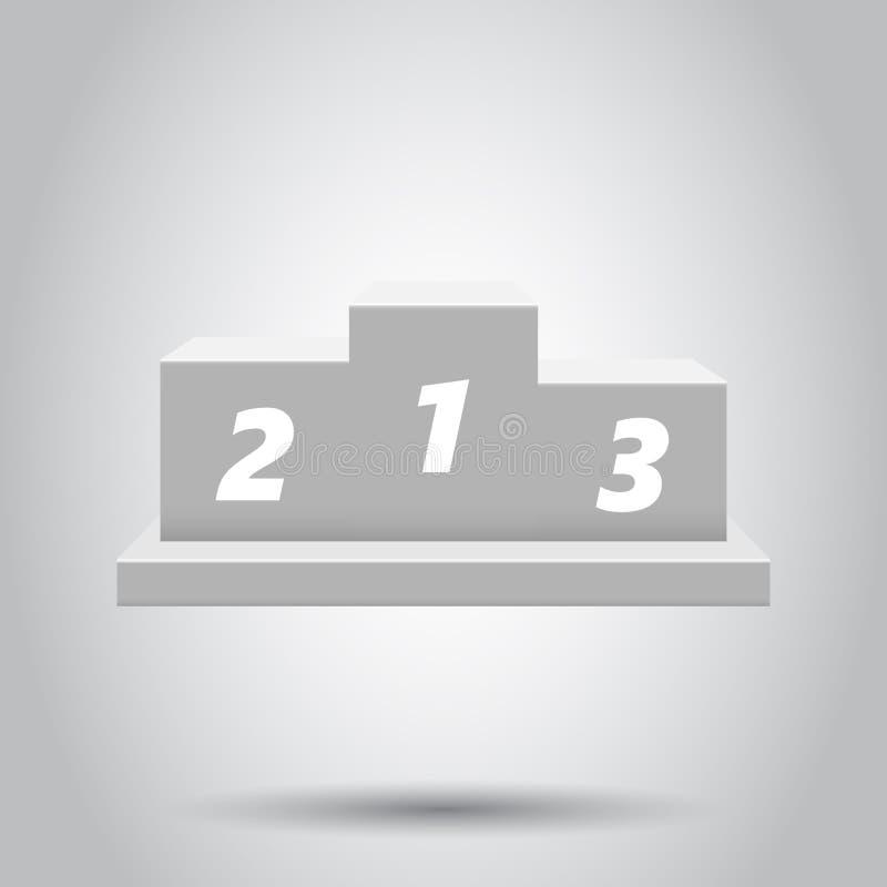 Ícone do pódio dos vencedores no estilo liso Ilustração do suporte no fundo branco Conceito do sinal da concessão ilustração stock