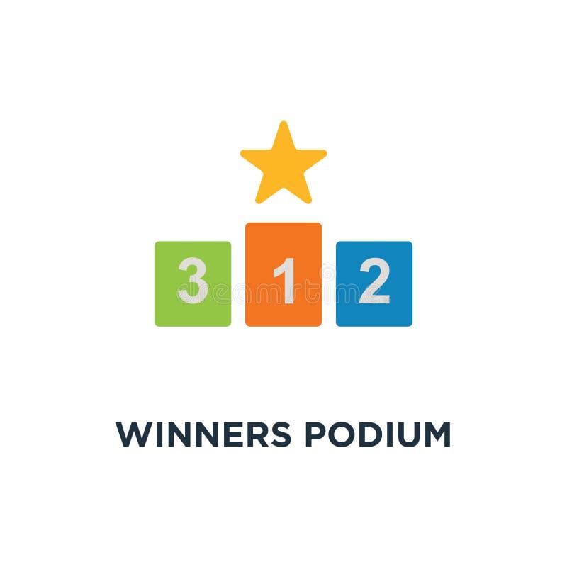 Ícone do pódio dos vencedores projeto premiado do símbolo do conceito do primeiro lugar, SU ilustração royalty free