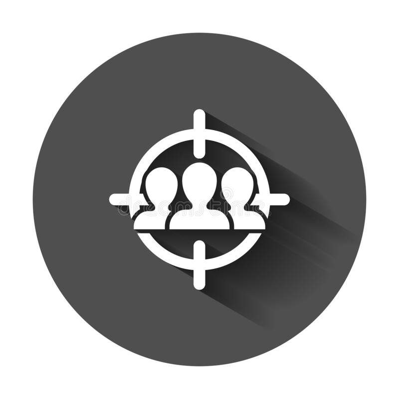 Ícone do público-alvo no estilo liso Foco no illus do vetor dos povos ilustração stock