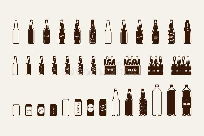 Ícone do pacote da cerveja ajustado: garrafa, lata, caixa ilustração royalty free