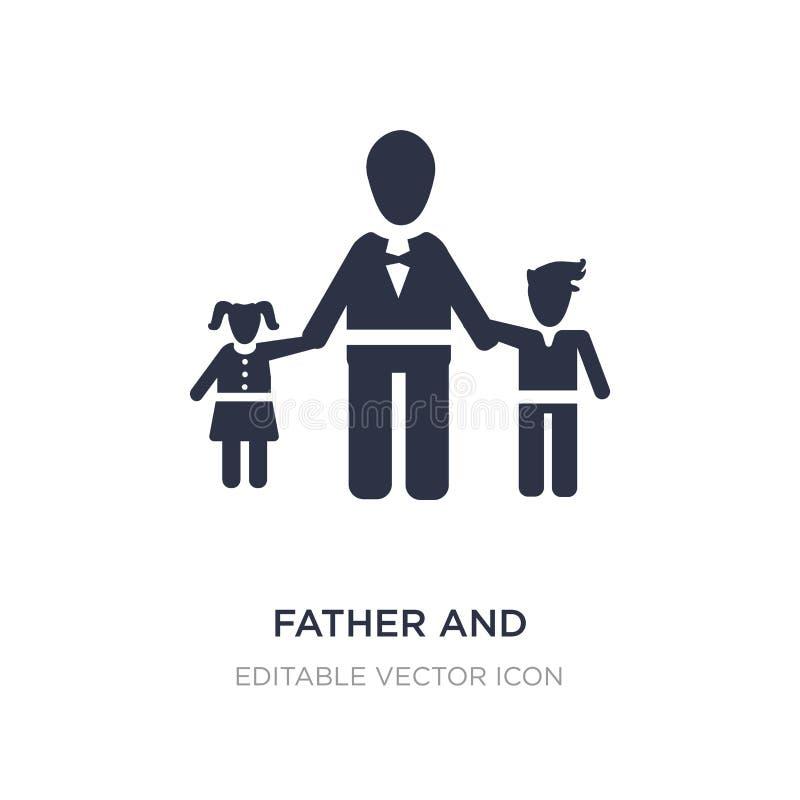 ícone do pai e das crianças no fundo branco Ilustração simples do elemento do conceito dos povos ilustração royalty free